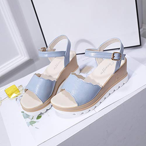 Summer Womens Casual Mid Heel Sandals Wedge Ankle Strap Shoes Buckle Strap Student Beach Shoes (Blue, Size:40=US:7.5) by Tanlo (Image #6)