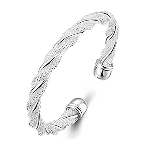 (Cy-Trendy Fashion Women Jewelry Solid 925 Sterling Silver Plated Dolphin Bangle Bracelet Gift (FF) )