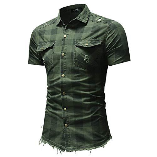 Impresión Bolsillos Checker Para Camisa Tops summer Mezclilla Polo camisa Corta Hombre Camiseta Hombre Con Manga De Verde Fashion Collar pq8w8CA4x