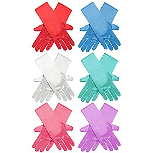 Zhanmai 6 Pairs Princess Dress Up Long Gloves Shiny Silky Satin Gloves for Kids Party, Wedding, Formal Pageant, Ages 3 to 8 Years Old (6 Colors)