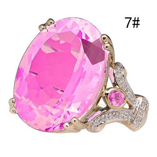 Haluoo Round Sapphire Filled Engagement Wedding Rings Gold Plated Women's Big Stone Diamond Statement Promise Rings Band Size 6-10 (7, Pink)