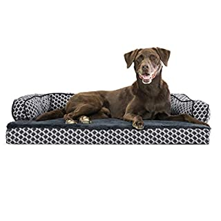 Furhaven Pet Dog Bed - Orthopedic Plush Faux Fur and Décor Comfy Couch Traditional Sofa-Style Living Room Couch Pet Bed with Removable Cover for Dogs and Cats, Diamond Gray, Large