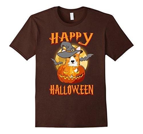 Mens Corgi Dog Happy Halloween T-shirt Pumpkin Costumes 2XL Brown