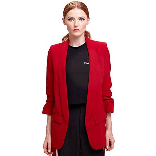 BELLA PHILOSOPHY Women's Outwears Blazer OL Puff Sleeve Workwear Blazer Coat No Button Three ()