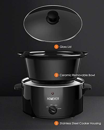 Homever Slow Cooker 3.5Litri Pentola per Cottura Lenta,Elettrico Fornello lento con Basso/Alto/Caldo Impostazione della Temperatura,Adatta Fino a 4+ Persone