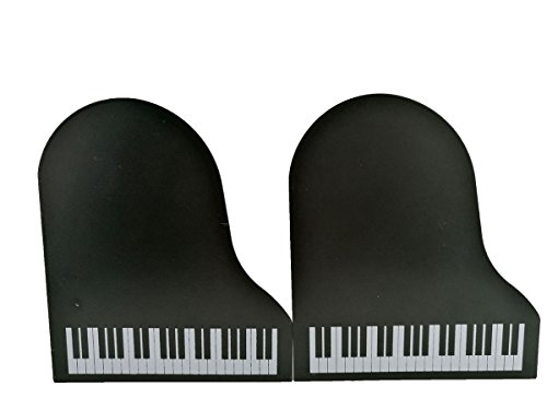 Music Theme Piano Shape Nonskid Metal Office Desk (Theme Bookends)