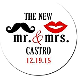 Personalized Customized Wedding Favor Stickers - The New Mr and Mrs Lips Mustache - Choose Your Size