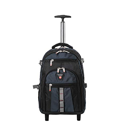 ROYAL MOUNTAIN Travel Wheeled Black Backpack, Nylon Rolling Backpack, Carry-on Luggage with Anti-Theft Zippers (Navy)