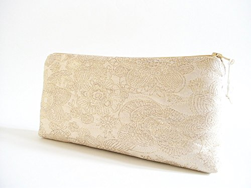 Set of 5 Gold Wedding Clutches, Thank You Bridesmaids Bags, Silk Gold Purses, Bachelorette Party Gifts by PersaBags