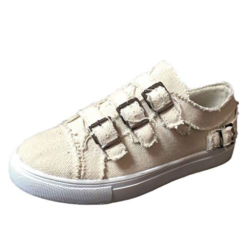 LYN Star✨ Women's Play Sneaker Loafers Vintage Out Shoes Round Toe Platform Flat Heel Buckle Strap Casual Walking Shoes Beige