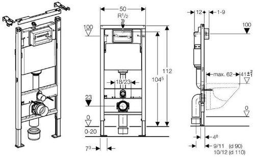 Geberit Geberit Geberit Duofix Basic UP 100 WC-Vorwandelement WC SET mit Platte Delta 21 weiß, Schallschutzset efe9f4