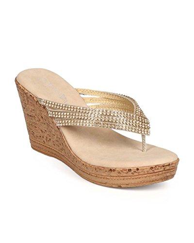 Nature Breeze EC65 Women Metallic Rhinestone Flip Flop Cork Wedge Sandal - Gold (Size: 10) (Gold Metallic Wedge Sandals)