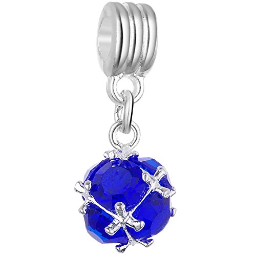 - RUBYCA Blue Crystal Ball Dangle Silver Charms Pendant Beads for Jewelry Making Crafting Supplies (10pcs, Royal Blue)