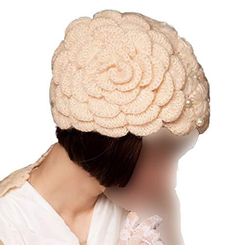 (Elegant Wool Knit Beanies Purple Flowers with Beaded Autumn Winter Women Cap Fashion Red Beige Black Bonnet)