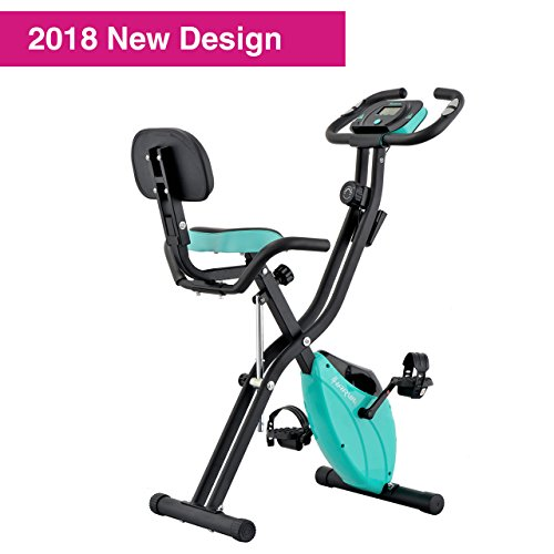 Harvil Foldable Magnetic Exercise Bike with 10-Level Adjustable Magnetic Resistance and Pulse Rate Sensors - Aqua (Level Bike)