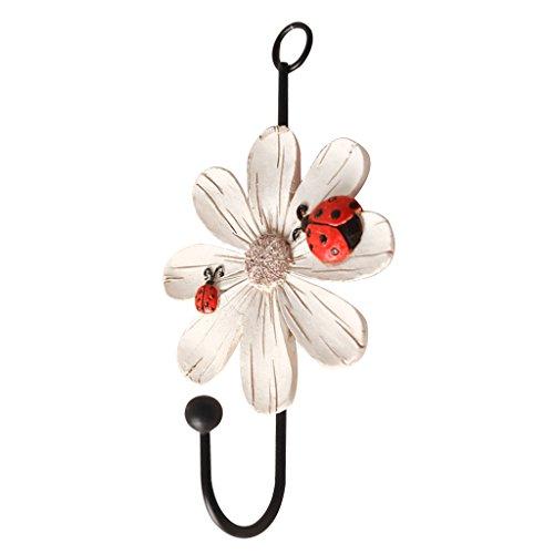 Dovewill Daisy Flower Wall Hook/Holder/Hanger Bag/Key/Coat/Towel Kitchen Storage - White, 14x8cm