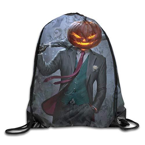 Hnmtown Spooky Jack O' Lantern Happy Halloween Pumpkin Drawstring Backpack Bags Rucksack Shoulder Bags Sackpack Sport Gym Bag Yoga Runner Beach Hiking -