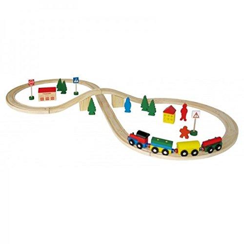 Holzeisenbahn Set 40-teilig inkl. Schienen Coemo