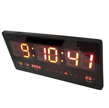 Dobo® Reloj digital pared LED Fecha Temperatura Día Rojo Verde Blanco Luz Fecha Día Semana año Mes Termómetro Varios colores: Amazon.es: Hogar