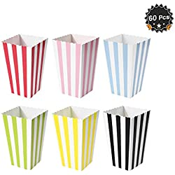 60 Pcs Colorful Mini Stripes Popcorn Boxes Candy Boxes