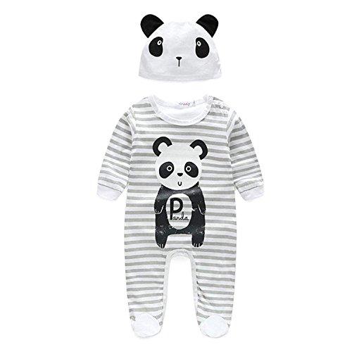 Newborn Infant Baby Boy Girl Outfits Cute Panda Print Stripe Long Sleeve Bodysuit+ Panda Hat Clothes Set (White, 3-6 Months)