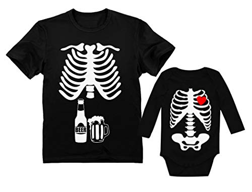 Dad & Baby Matching Halloween Costume Set Skeleton Beer Belly Xray Rib Cage Tees Dad Black X-Large/Baby Black 6M (3-6M) ()
