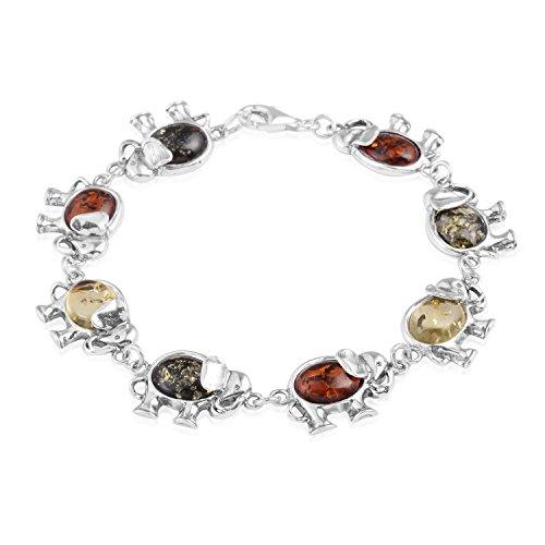(Multi Color Amber 925 Sterling Silver Linked Elephants Fashion Tennis Bracelet For Women Size 7.5