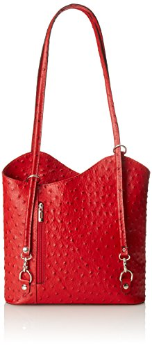 Bag Leather Italy 28x30x9cm Genuine 100 Women's Ostrich Leather CTM Rosso Red in Made Shoulder dxTpSF1