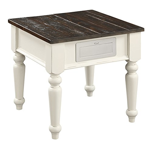 Emerald Home Mountain Retreat Dark Mocha and Antique White End Table with Solid Plank Top And Turned ()