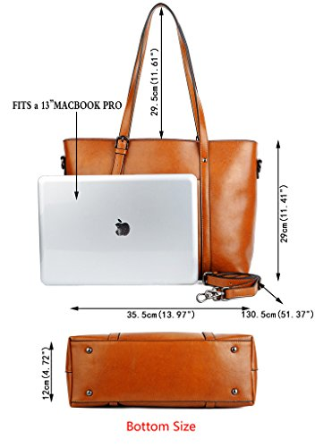 2db7aab2c YALUXE Women's Vintage Style Soft Leather Work Tote Large Shoulder Bag
