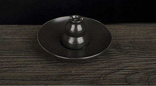 Ceramic Incense Holder (Incense Burner Black Glazed Ceramic Gourd Zen Buddhism Ceramic Incense Holder,Church Incense Burner)