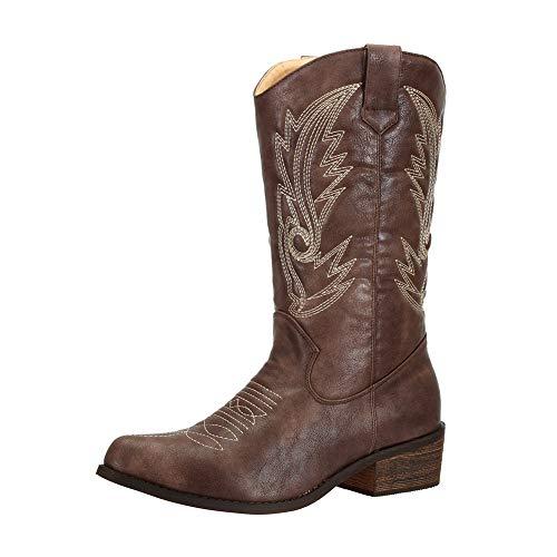 SheSole Women's Wide Calf Western Cowgirl Cowboy Boots Brown Size 9 (Brown Wide Calf Boots Size 9)