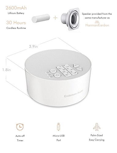 Portable White Noise Machine with 12 Non-Looping Soothing Sounds, Enderson Audio Rechargeable Sleep Sound Machine with Memory Function, 15 Levels of Volume, 3 Timer Settings & 30 Hours Runtime by Enderson Audio (Image #2)
