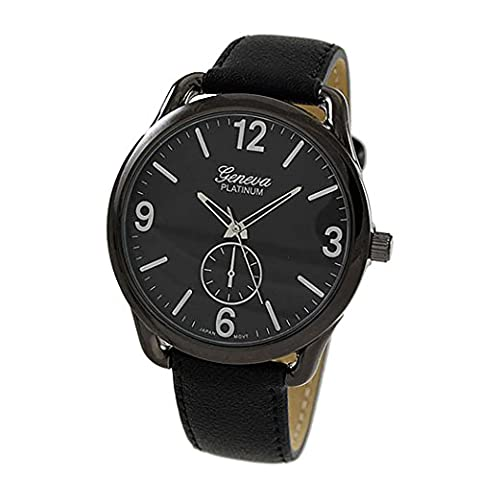 Rosemarie Collections Men's or Women's Stitched Vegan Leather Oversized Watch (Black and Silver) (Vegan Leather Watch Man)