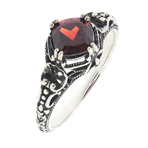 BL Jewelry Antique Finished Sterling Silver Cushion Cut Genuine Garnet Filigree Ring (1 1/3 CT.T.W) ()