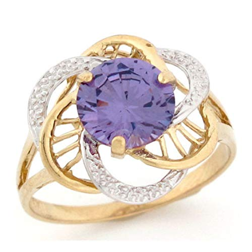 - 10k Two-Tone Gold Simulated Amethyst February Birthstone Ring (Style# 2428) - Size 11