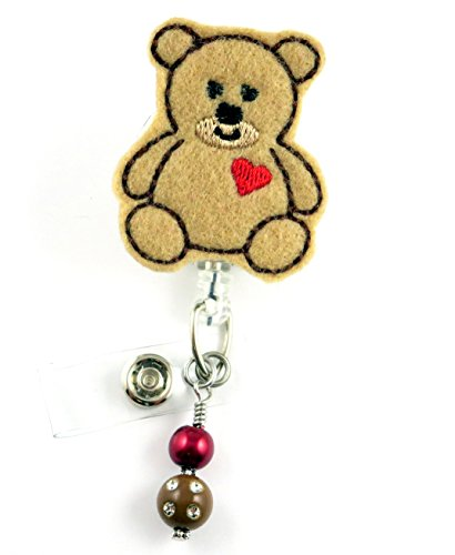 Cute Teddy Bear w/Heart - Nurse Badge Reel - Retractable ID Badge Holder - Nurse Badge - Badge Clip - Badge Reels - Pediatric - RN - Name Badge Holder