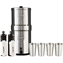 Boroux Bundle Includes: Big Berkey Water Filter System w/ 2 Black Purifier Filters (2 Gallons) Bundled w/ 1-Set of Fluoride Filters (PF2) and 1-Set of 4 12 oz Stainless Steel Cups