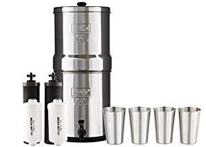 Big Berkey Water Filter System w/ 2 Black Purifier Filters (2 Gallons) Bundled w/ 1-set of Fluoride Filters (PF2) and 1-set of 4 Boroux 12 oz Stainless Steel Cups