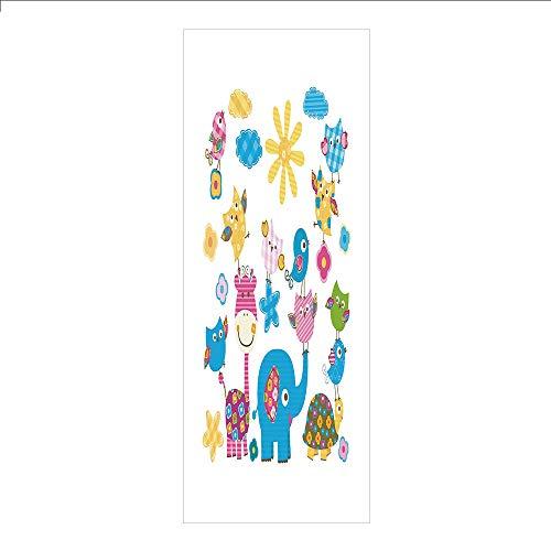 3D Decorative Film Privacy Window Film No Glue,Nursery,Cute Animals Cartoon Style Happy Dancing Animals Elephant Birds Owls,Sky Blue Pink Marigold,for -
