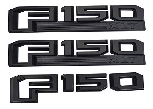 3Pcs OEM F150 XLT Side Fender Emblem,3D Snap Type Badge Nameplate Stickers Replacement for 15-17 Ford F-150 Original size (Black)