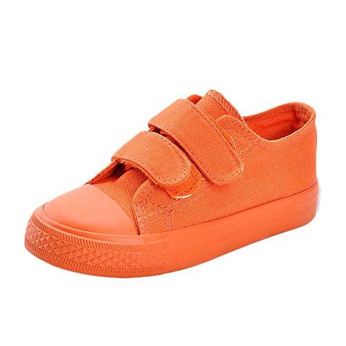 MK MATT KEELY Kids Canvas Shoes Boy Girl Unisex Sneakers Children Hook Loop Loafers School Board Shoes Orange(Toddler/Little Kid)