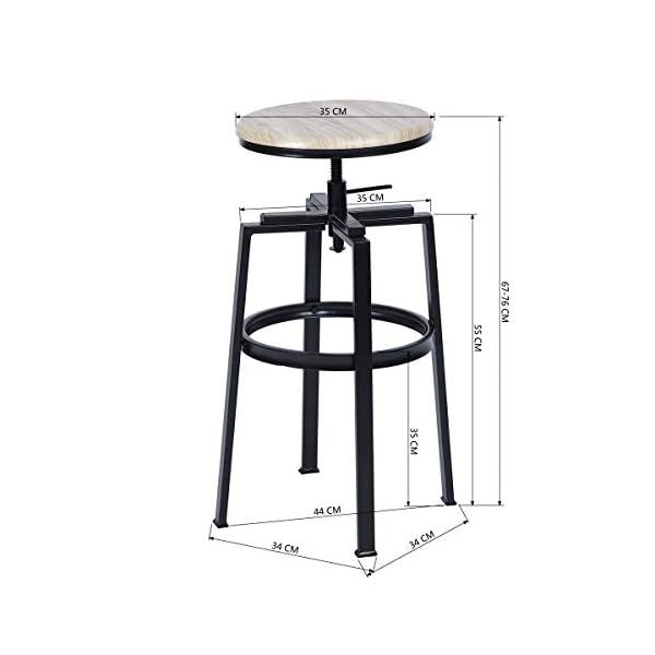 MEUBLE COSY Lot de 2 Tabouret de Bar, Chaise Haute, Hauteur réglable, Rotatif sur 360°, avec Repose-Pieds, Piètement…