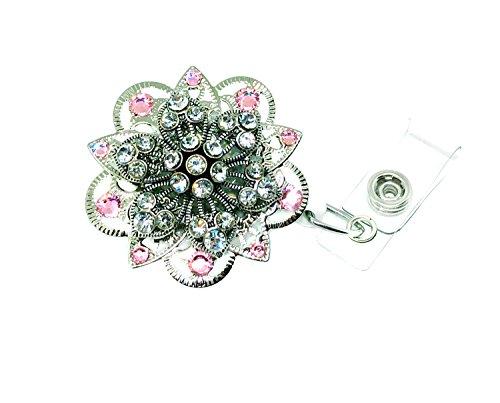 Brooch Retractable Badge Holder (Pink n Shimmer) ()