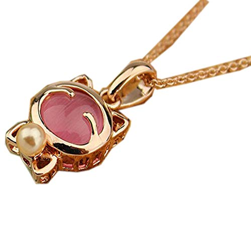 (Fashion Jewelry Lucky Cat Bohemian Statement Necklace Cat Eye Stone Pendant Necklace Female Elegant Necklace,Pink)