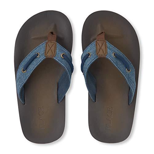 - The Children's Place Boys' Baja Flip-Flop Sandal, Denim, Youth 5-6 Medium US Little Kid