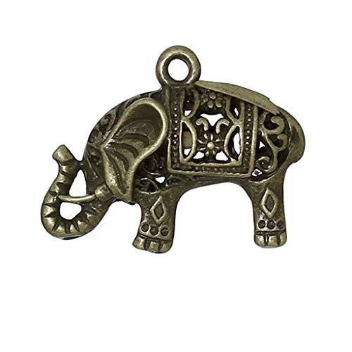 Zinc Metal Alloy Charm Pendants | Elephant Antique Bronze Hollow 24mm(1