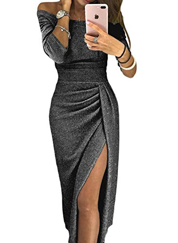 Womens Prom Dresses High Slit Off Shoulder Formal Elegant Fall African Metaillic Sexy Night Black Evening Party Cocktail Dress Small (4-6) ()