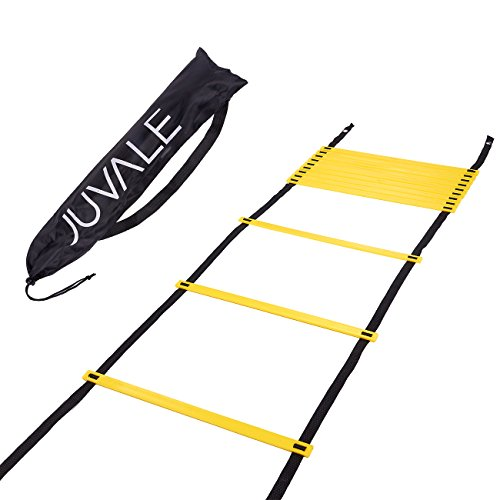 Step Ladder Training - Agility Ladder - For Speed, Coordination, Footwork - Great for Football, Soccer, Workouts - Includes Carrying Bag - 20 Feet in Length, Black, Yellow