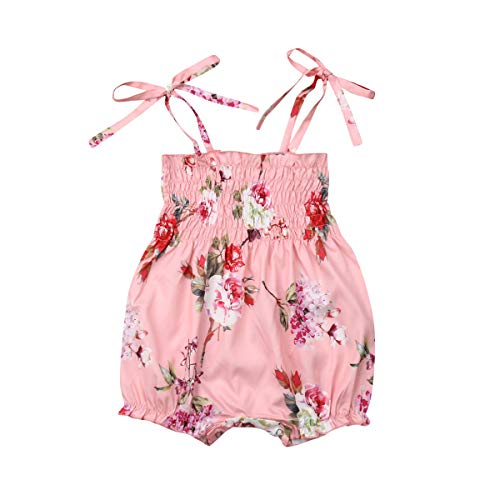 - Newborn Infant Spaghetti Straps Sleeveless Floral Print Bodysuit Baby Girl Romper Jumpsuit Outfit Sets Clothing Summer (Pink Floral Print,6-12 Months)